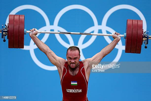 Ruslan Nurudinov of Uzbekistan competes in the Men's 105kg Weightlifting on Day 10 of the London 2012 Olympic Games at ExCeL on August 6, 2012 in...