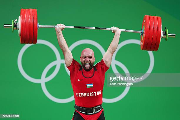 Ruslan Nurudinov of Uzbekistan lifts during the Men's 105kg Group A Weightlifting contest on Day 10 of the Rio 2016 Olympic Games at Riocentro...