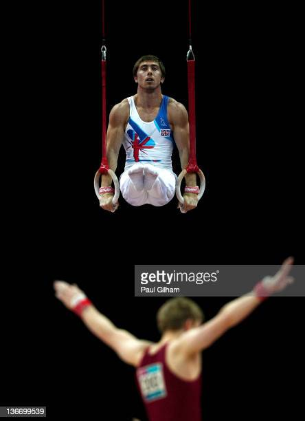Ruslan Panteleymonov of Great Britain in action on the Rings during day one of the Men's Gymnastics Olympic Qualification round at North Greenwich...