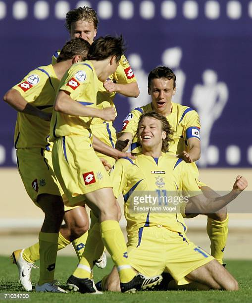 Ruslan Romin of Ukraine celebrates scoring the second goal with his team during the UEFA U21?s Championship Group B match between Ukraine and...