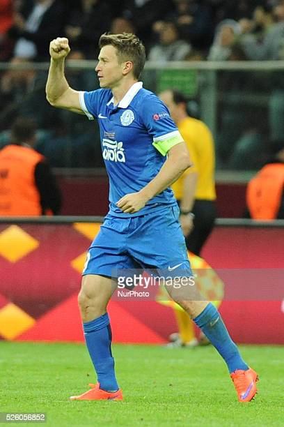 Ruslan Rotan celebrates after scoring during the UEFA Europa league final football match between FC Dnipro Dnipropetrovsk and Sevilla FC on May...