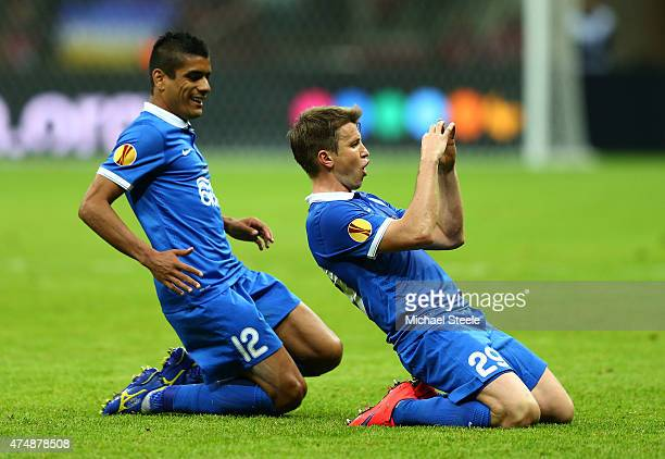 Ruslan Rotan of Dnipro celebrates scoring his team's second goal with Leo Matos during the UEFA Europa League Final match between FC Dnipro...