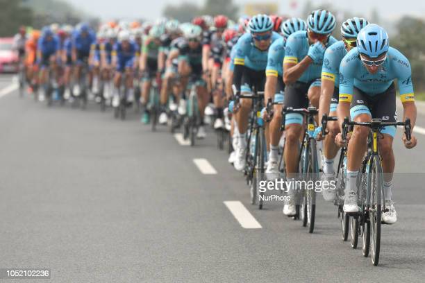 Ruslan Tleubayev of Kazahkstan and Astana Pro Team leads a peloton during the fifth stage the Vestel Stage 1373km Selcuk Manisa of the 54th...