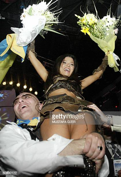 Ruslana of Ukraine celebrates her win during the semifinals for the 49th Eurovision Song Contest at Abdi Ipekci Sport Saloon in Istanbul 12 May 2004...