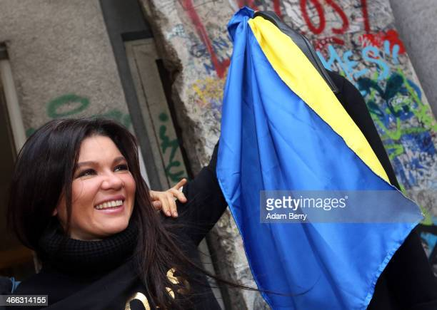 Ruslana Stepanivna Lyzhychko also known as Ruslana a Ukrainian pop star and winner of the 2004 Eurovision Song Contest poses with a Ukrainian...