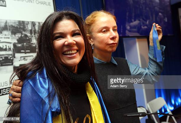 Ruslana Stepanivna Lyzhychko also known as Ruslana a Ukrainian pop star and winner of the 2004 Eurovision Song Contest leaves a press conference next...