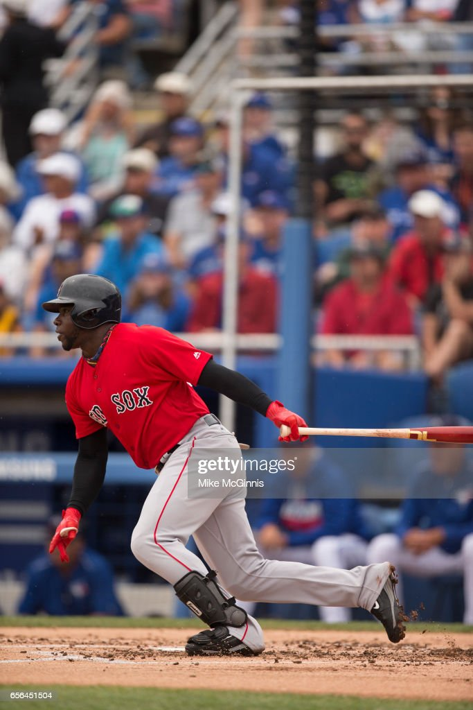 Rusney Castillo #38 of the Boston Red Sox in action during the Spring Training game against the Toronto Blue Jays at Florida Auto Exchange Stadium on March 13, 2017 in Lakeland, Florida.