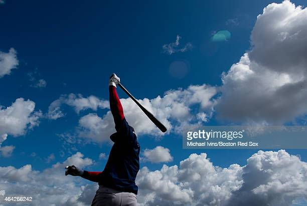 Rusney Castillo of the Boston Red Sox warms up before taking batting practice at Fenway South on February 23 2015 in Fort Myers Florida
