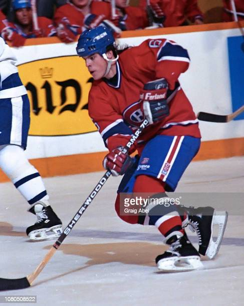 Russ Courtnall of the Montreal Canadiens skates against the Toronto Maple Leafs during NHL game action on January 27 1990 at Maple Leaf Gardens in...