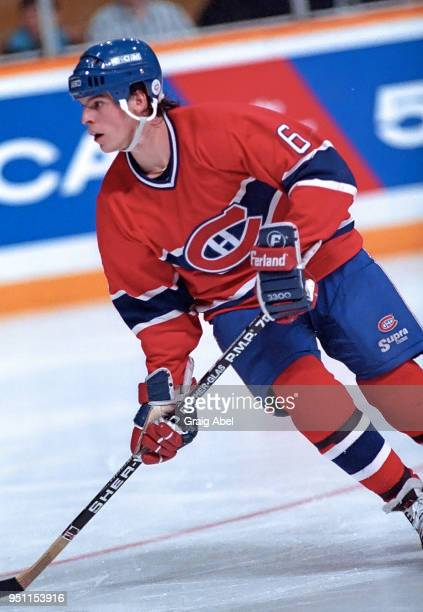 Russ Courtnall of the Montreal Canadiens skates against the Toronto Maple Leafs during NHL game action on January 141989 at Maple Leaf Gardens in...