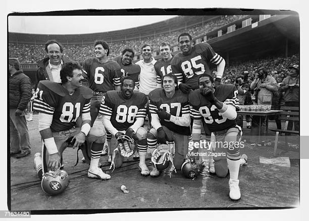 Russ Francis Freddie Solomon Dwight Clark Ronaldo Nehemiah Assistant coach Paul Hackett Matt Cavanaugh Earl Cooper scout Billy Wilson Joe Montana and...