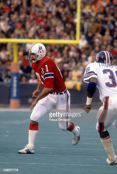 Russ Francis of the New England Patriots in action against the Denver Broncos during an NFL football game at Foxboro Stadium November 28 1976 in...