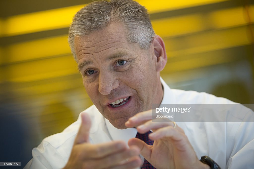 Russ Girling, chief executive officer of TransCanada Corp., speaks during an interview in New York, U.S., on Thursday, July 18, 2013. Girling said starting the $5.3 billion Keystone XL pipeline project in the second half of 2015 will be âdifficult.❠Photographer: Scott Eells/Bloomberg via Getty Images