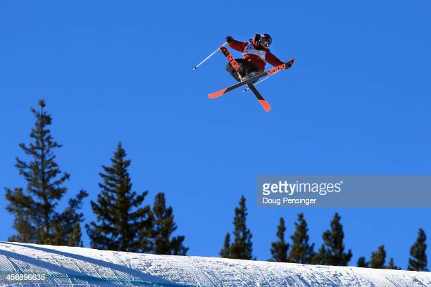 Russ Henshaw of Austrlia soars to second place in the men's ski slopestyle at the Dew Tour iON Mountain Championships on December 15 2013 in...