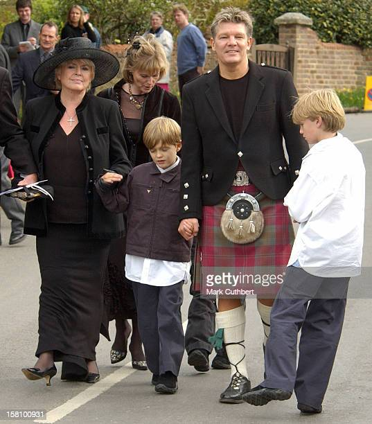 Russ Lindsay Sons Gabriel Charlie With Their Grandmother Gloria Hunniford Attend The Funeral Of Caron Keating At Herver Castle In Kent