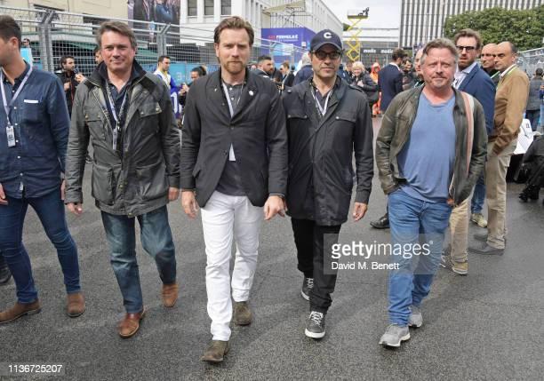 Russ Malkin Ewan McGregor David Alexanian and Charley Boorman attend the ABB FIA Formula E GEOX Rome EPrix 2019 on April 13 2019 in Rome Italy