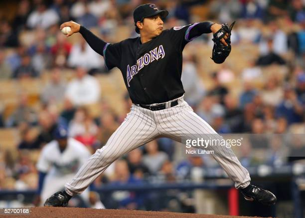 Russ Ortiz of the Arizona Diamondbacks pitches against the Los Angeles Dodgers on April 26 2005 at Dodger Stadium in Los Angeles California