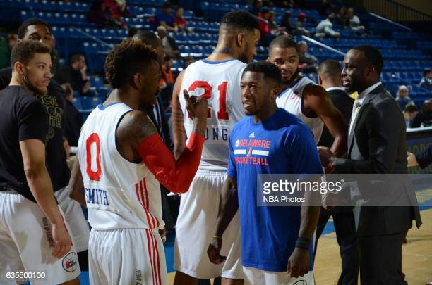 Russ Smith and Nate Robinson of the Delaware 87ers speak during a time out during the game against the Maine Red Claws on February 14 2017 at the Bob...