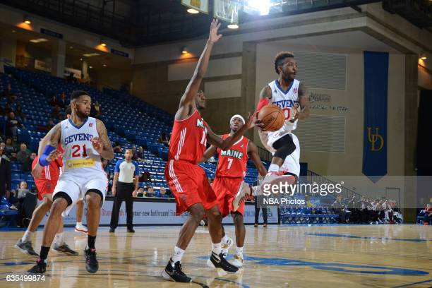 Russ Smith of the Delaware 87ers looks to pass during the game against the Maine Red Claws on February 14 2017 at the Bob Carpenter Center in Newark...