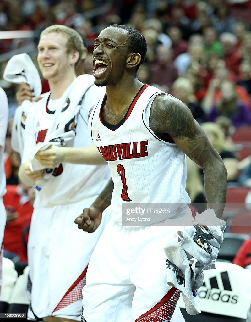 Russ Smith #2 of the Louisville Cardinals celebrates during the game against the Missouri-Kansas City Kangaroos at KFC YUM! Center on December 8, 2012 in Louisville, Kentucky. Louisville won 99-47.