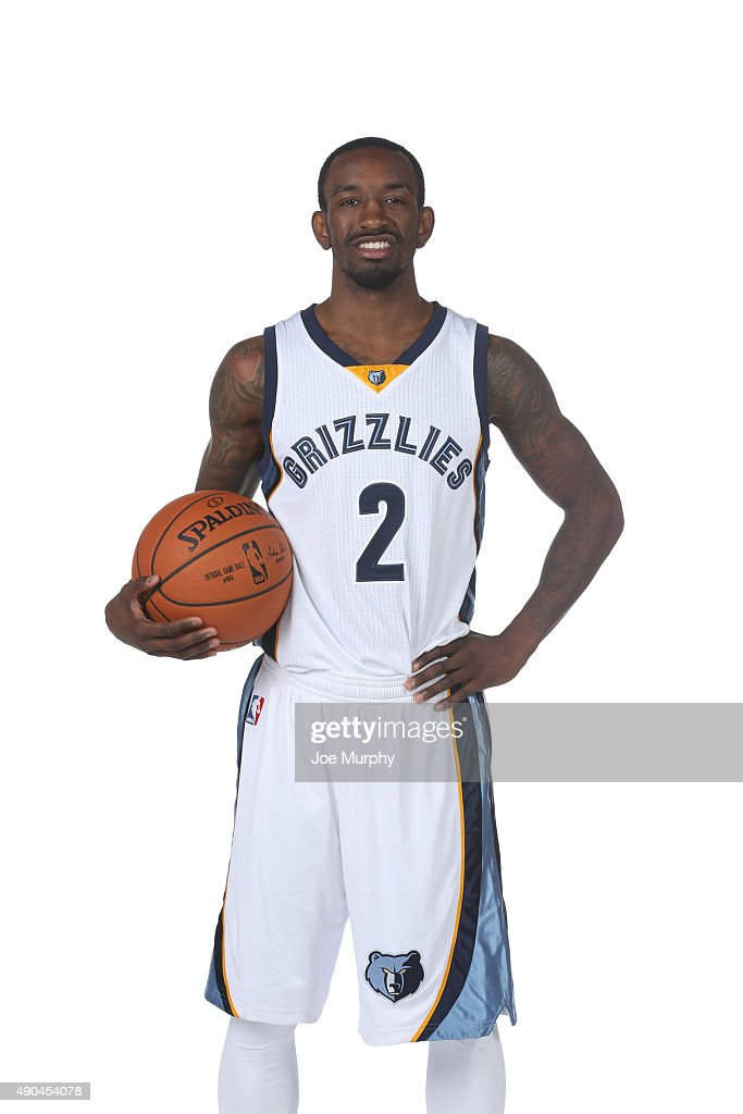 Russ Smith #2 of the Memphis Grizzlies poses for a portrait during their 2015 media day at FedExForum on September 28, 2015 in Memphis, Tennessee.