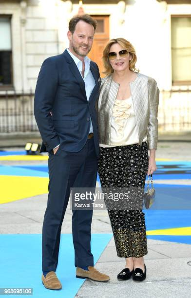 Russ Thomas and Kim Cattrall attend the Royal Academy of Arts Summer Exhibition Preview Party at Burlington House on June 6 2018 in London England