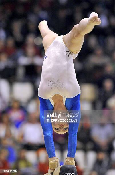 Russain Ksenia Semenova member of the senior team performs on beamr during the Euro2008 women artistic gymnastics championships on April 06 2008 in...