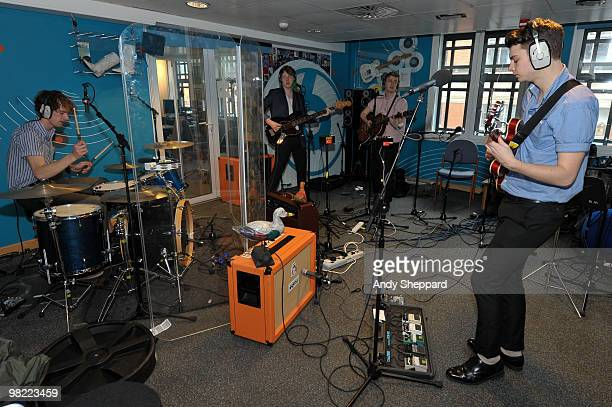 Russel Bates George Waite Alex Saunders and Daniel Hopewell of The Crookes perform for a special edition of The Evening Session at the BBC 6 Music...