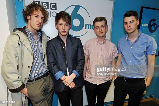 Russel Bates George Waite Daniel Hopewell and Alex Saunders of The Crookes perform for a special edition of The Evening Session at the BBC 6 Music...