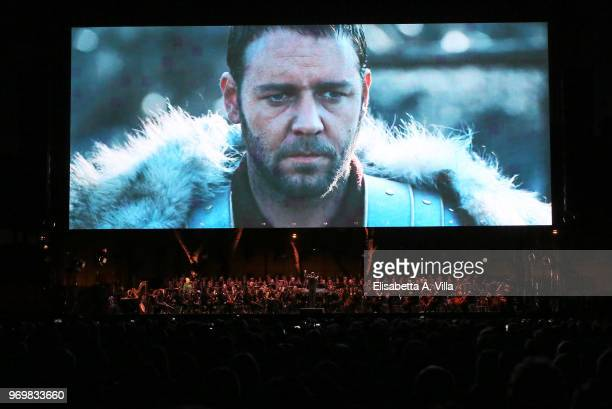 Russel Crowe is pictured during the screening of 'Gladiator' at the 'Il Gladiatore In Concerto' charity night at Circo Massimo on June 8 2018 in Rome...