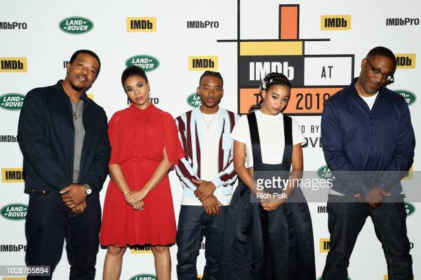 Russel Hornsby Regina Hall Algee Smith Amandla Stenberg and director George Tillman Jr of 'The Hate U Give' attend The IMDb Studio presented By Land...