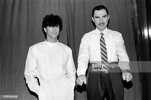 Russel Mael and Ron Mael of Sparks backstage at the Brendan Byrne Arena in East Rutherford, New Jersey on June 26, 1983.