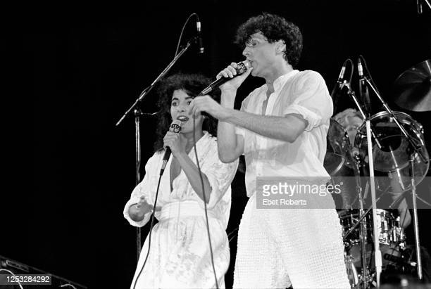 Russel Mael of Sparks and Jane Wiedlin of the Go-Go's performing at the Brendan Byrne Arena in East Rutherford, New Jersey on June 26, 1983.