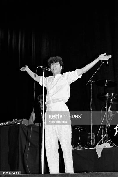 Russel Mael of Sparks performing at the Brendan Byrne Arena in East Rutherford, New Jersey on June 26, 1983.