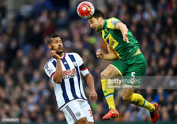 Russel Martin of Norwich City heads the ball during the Barclays Premier League match between West Bromwich Albion and Norwich City at The Hawthorns...