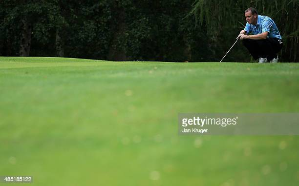 Russel Price of Ludlow GC during the Golfplan Insurance PGA ProCaptain Challenge Midland Qualifier at Enville Golf Club on August 25 2015 in...