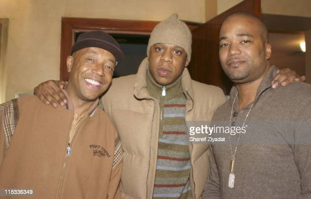 Russel Simmons Jay Z and Chris Lightly during 50 Cent Hosts Private Screening of 'Get Rich or Die Tryin' October 29 2005 at Tribeca Screening Room in...