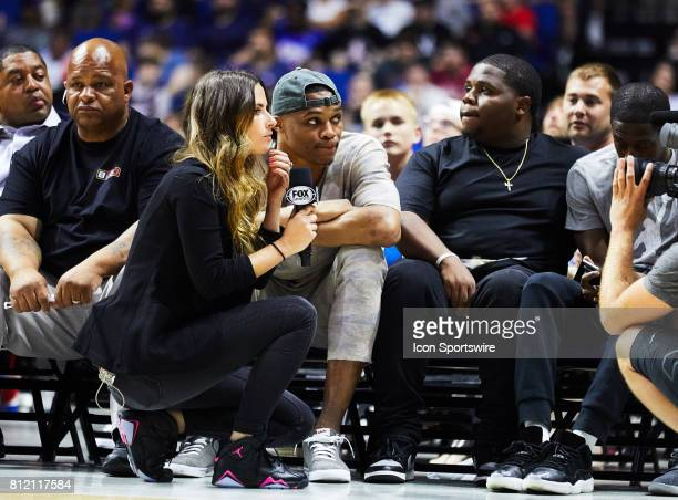 Russel Westbrook gives an interview during a BIG3 Basketball game on July 9 2017 at the BOK Center in Tulsa OK
