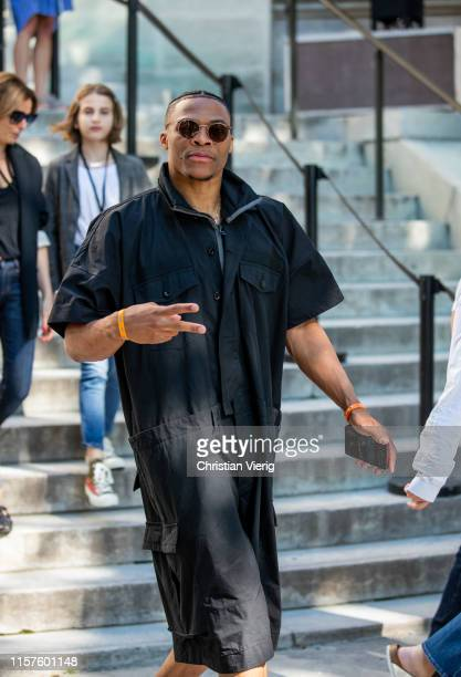 Russel Westbrook is seen outside Sacai during Paris Fashion Week Menswear Spring/Summer 2020 on June 22 2019 in Paris France