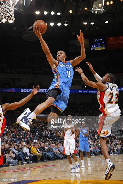 Russel Westbrook of the Oklahoma Thunder attacks the basket for a layin against the Golden State Warriors on February 21 2009 at Oracle Arena in...