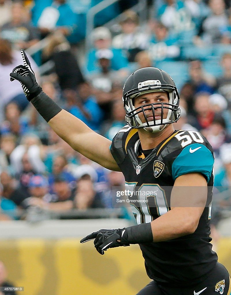 Russell Allen #50 of the Jacksonville Jaguars celebrates a defensive stop during the game against the Buffalo Bills at EverBank Field on December 15, 2013 in Jacksonville, Florida.