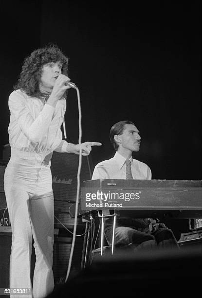 Russell and Ron Mael of American rock group Sparks, performing on stage, November 1974.