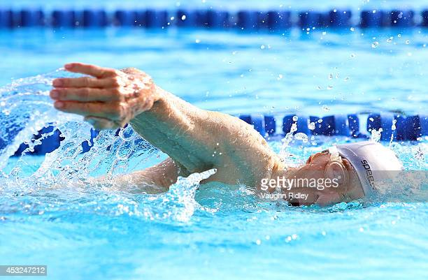 Russell Benner of Canada competes in the Men's 50m Freestyle at Parc JeanDrapeau during the 15th FINA World Masters Championships on August 06 2014...