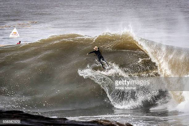 Russell Bierke of Australia competes during the Red Bull Cape Fear surfing event at Cape Solander on June 6 2016 in Sydney Australia