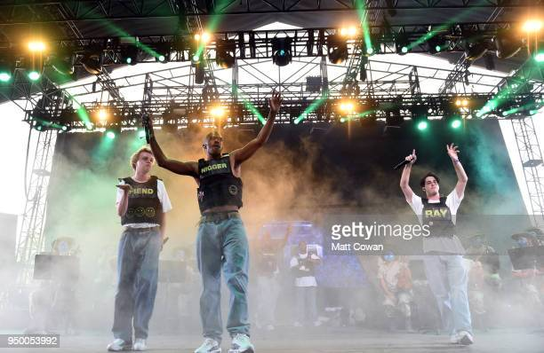 Russell Boring aka JOBA Ameer Vann and Matt Champion of Brockhampton perform onstage during the 2018 Coachella Valley Music And Arts Festival at the...