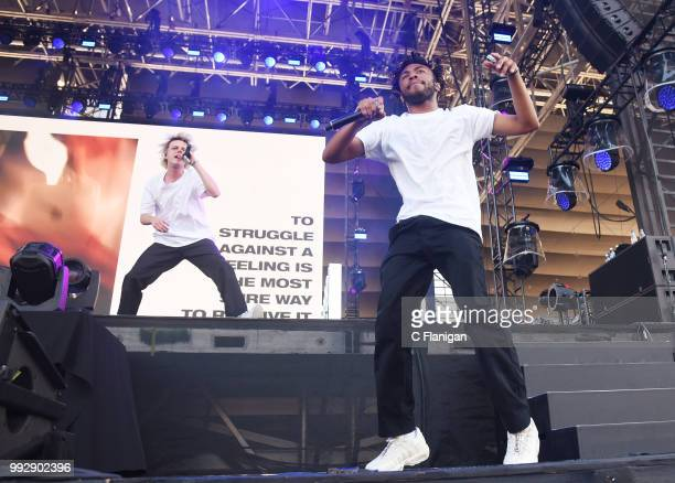 Russell Boring aka JOBA and Kevin Abstract of Brockhampton perform during the 51st Festival d'ete de Quebec on July 5 2018 in Quebec City Canada
