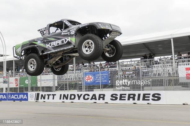 Russell Boyle from Toronto, ON, Canada on the race during the SPEED Energy Stadium SUPER Trucks race on July 12 the first day of the Honda Indy in...