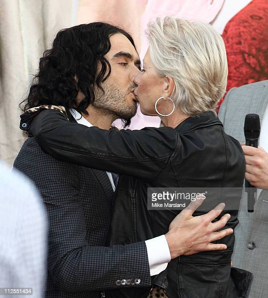 Russell Brand and Dame Helen Mirren attends the European premiere of 'Arthur' at Cineworld 02 Arena on April 19 2011 in London England