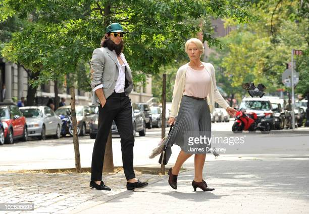 Russell Brand and Helen Mirren on location for Arthur on the streets of Manhattan on July 12 2010 in New York City