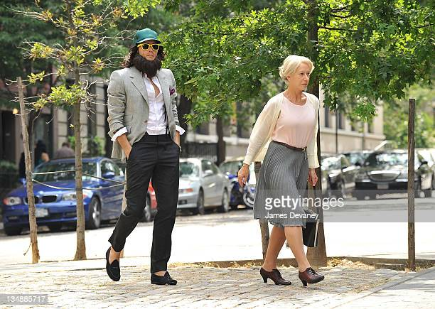 Russell Brand and Helen Mirren on location for 'Arthur' on the streets of Manhattan on July 12 2010 in New York City